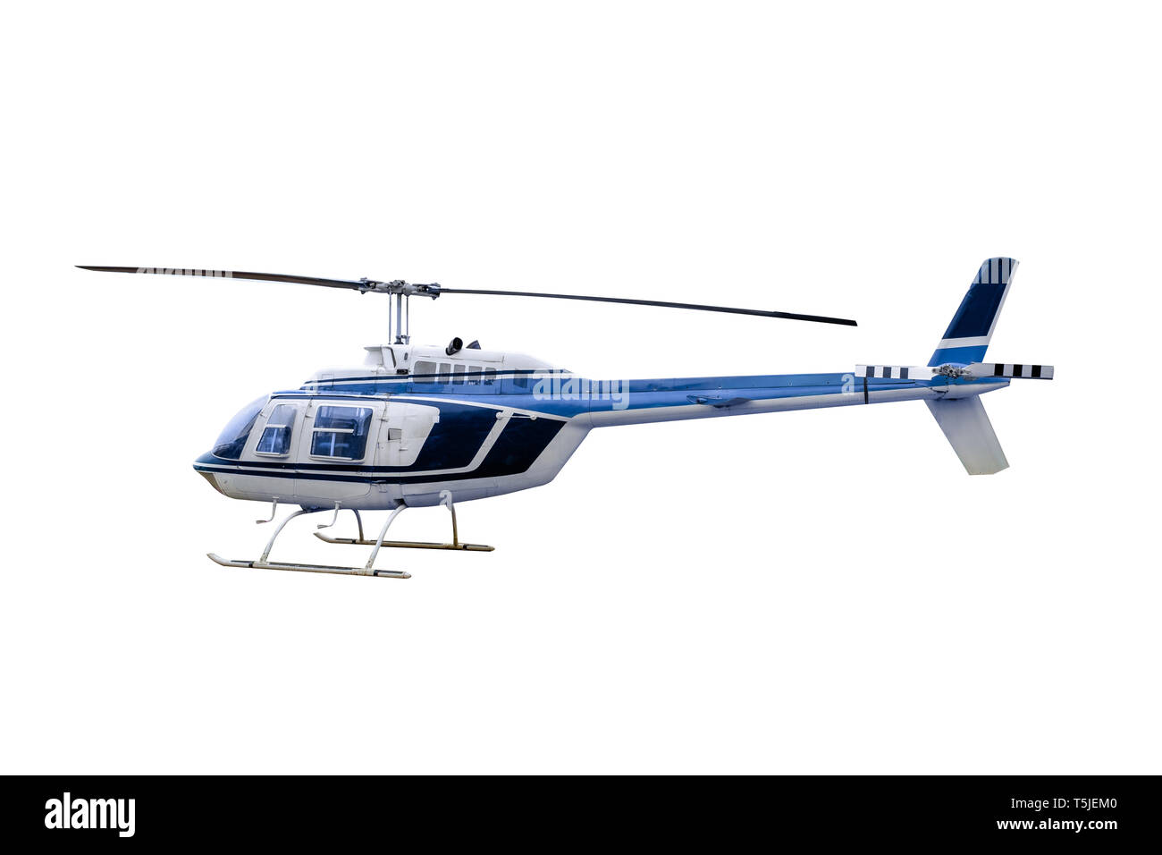 Blue old model Helicopter parked, Isolated on white background - Stock Image