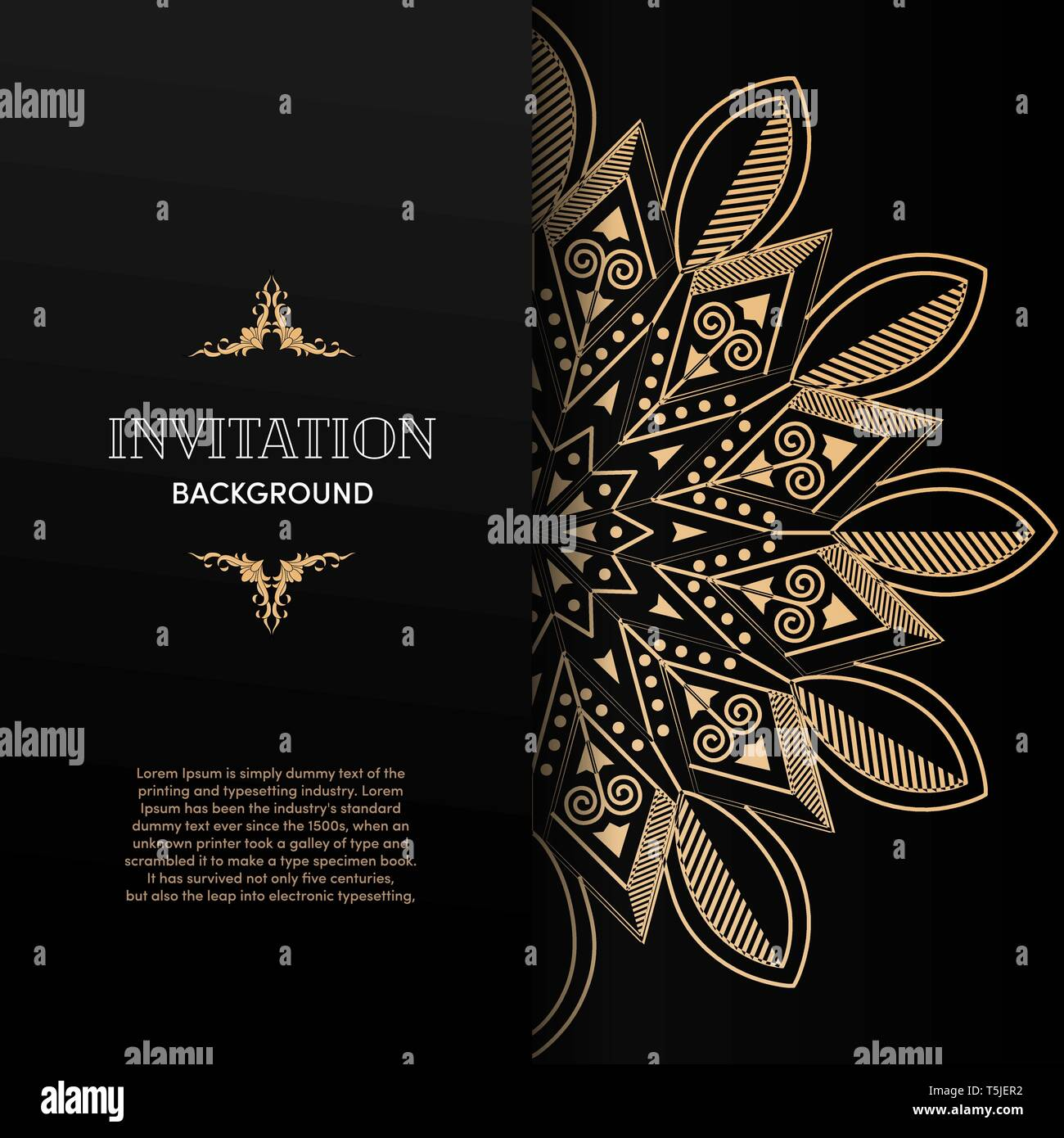 Luxury Gold Mandala Invitation Card Design Template Stock