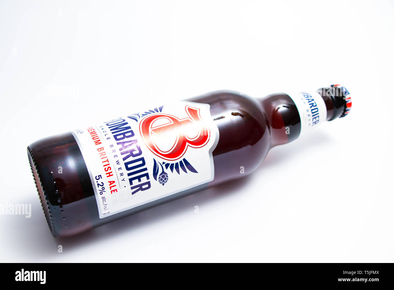 Bombardier British  ale Beer bottle from UK england - Stock Image