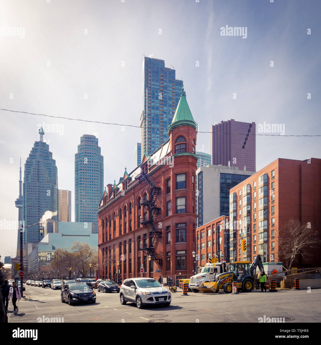 A view of the Gooderham Building (Flatiron Building) with the Financial District in the background. Toronto, Ontario, Canada. - Stock Image