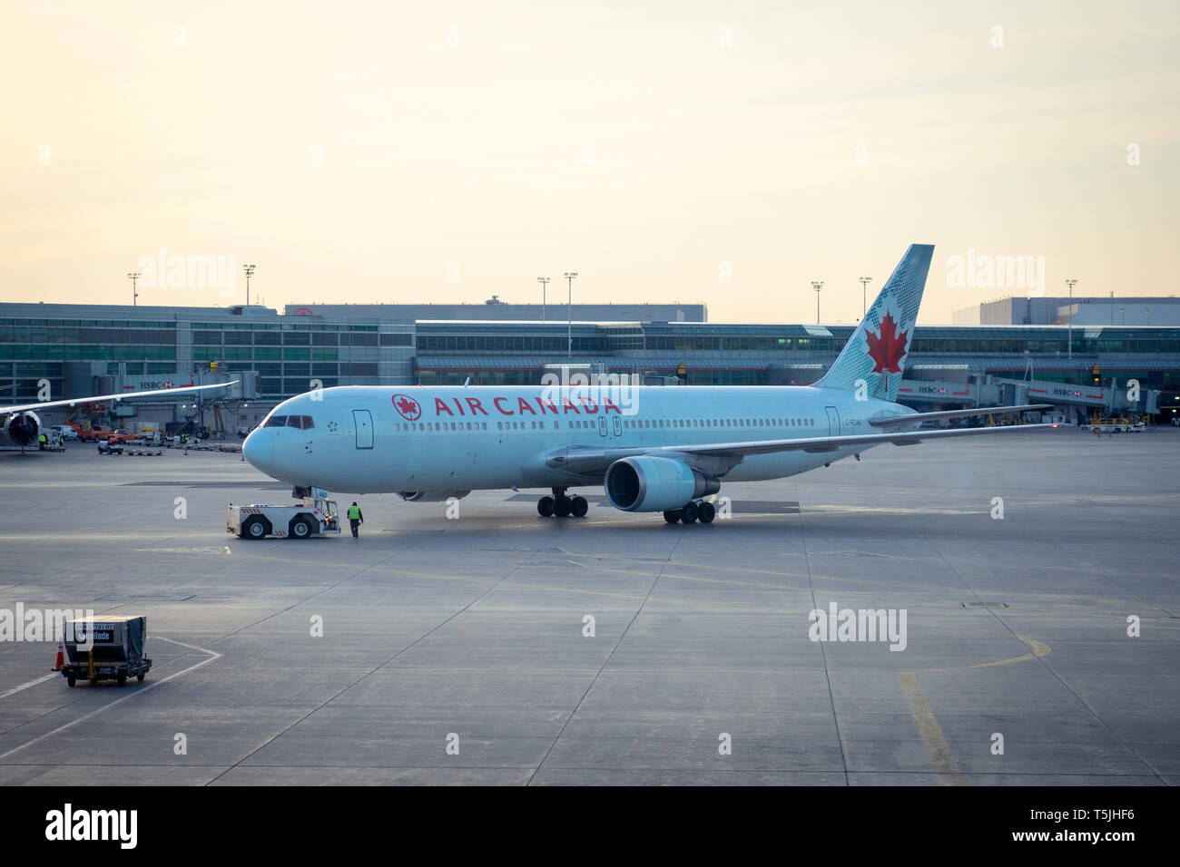 An Air Canada Boeing 767-300ER (763) on the tarmac at Toronto Pearson International Airport (YYZ) in Toronto, Ontario, Canada. Stock Photo