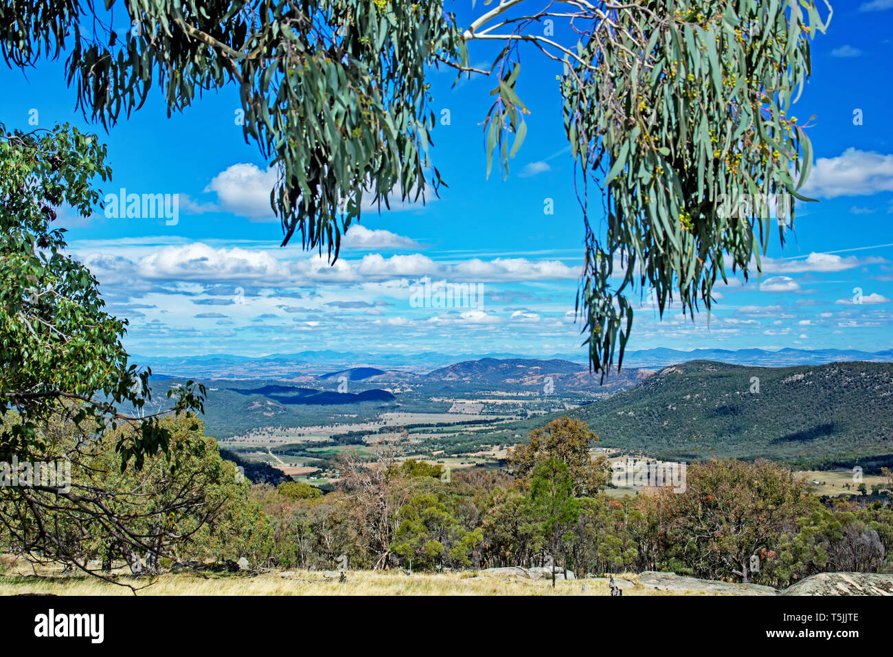 Overlooking farm lands and Daruka, an outer suburb north of Tamworth Australia. - Stock Image