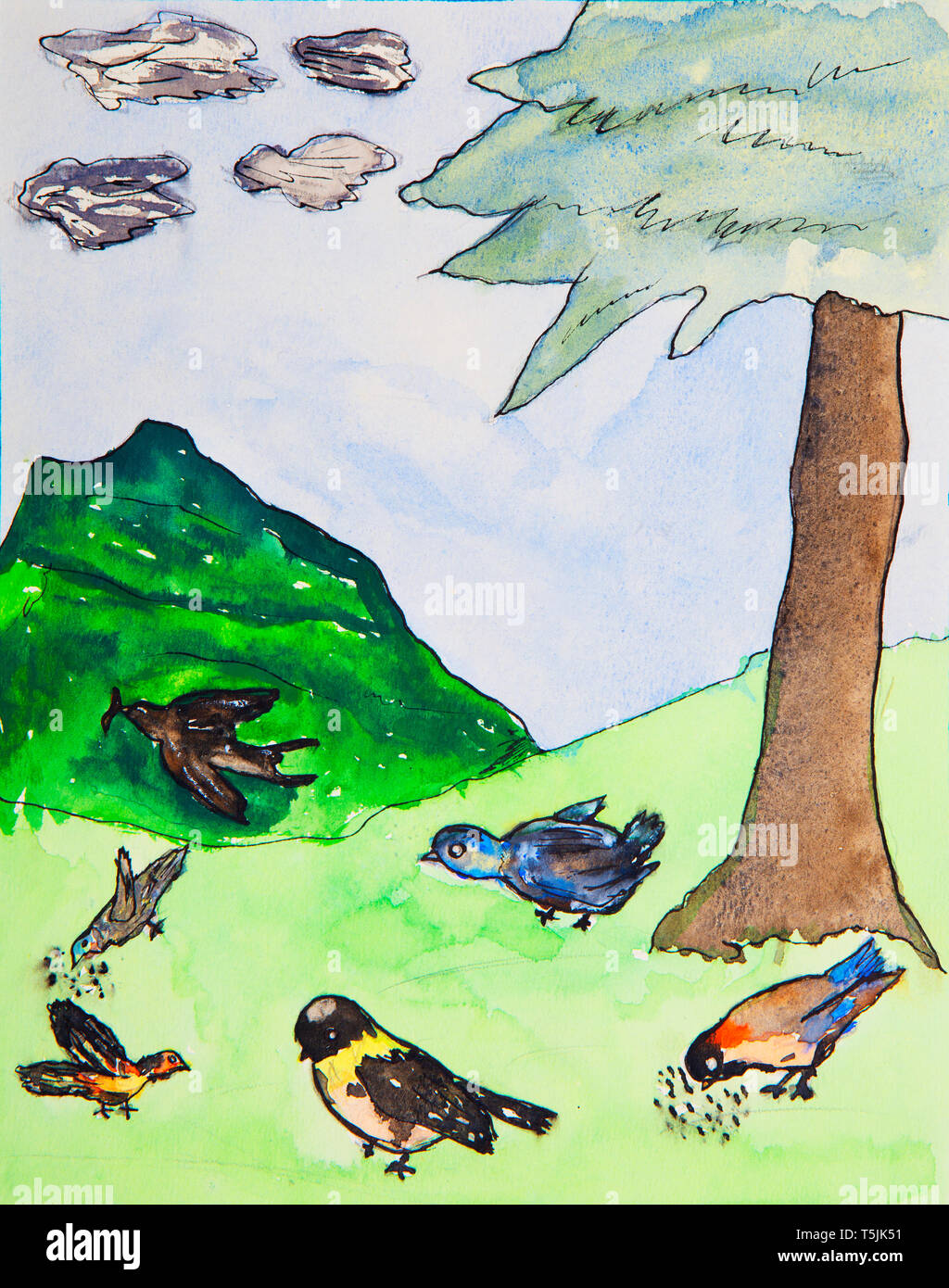 Children's painting of song birds in nature - Stock Image