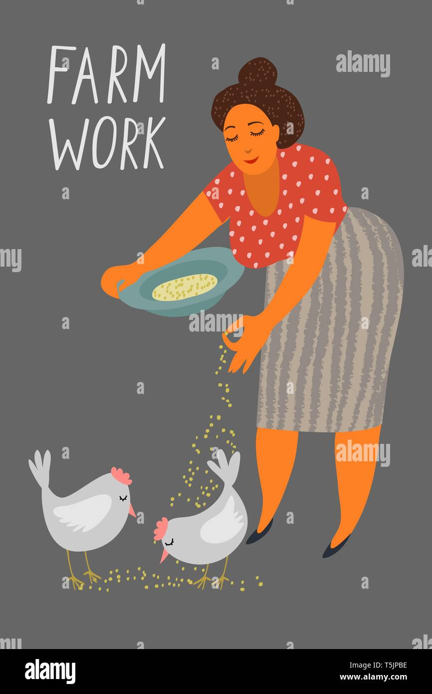 Woman feeding chickens, female farmer taking care of animal on farm, poultry breeding vector - Stock Vector