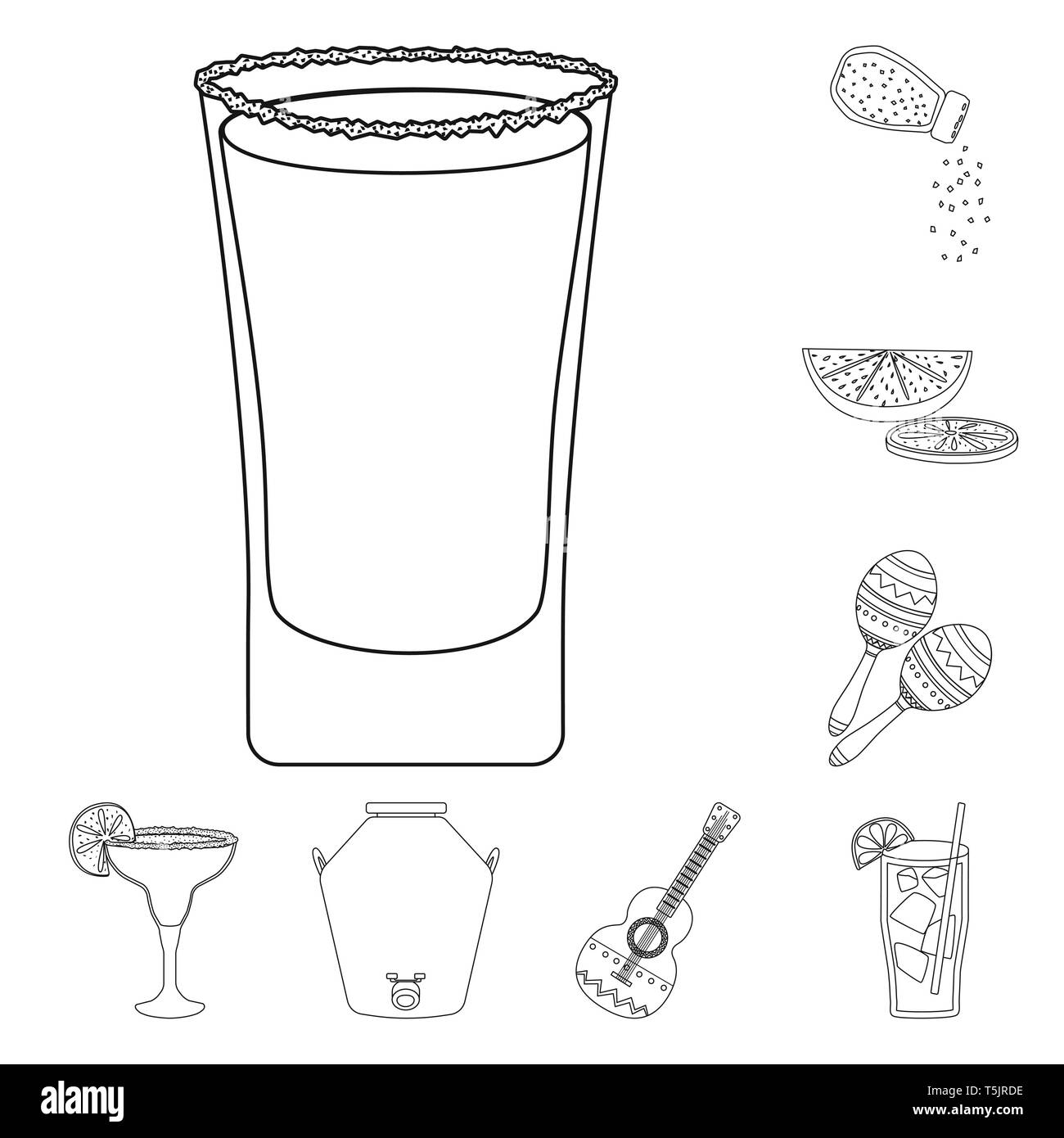 Vector illustration of Mexico and tequila logo. Collection of Mexico and fiesta vector icon for stock. - Stock Image