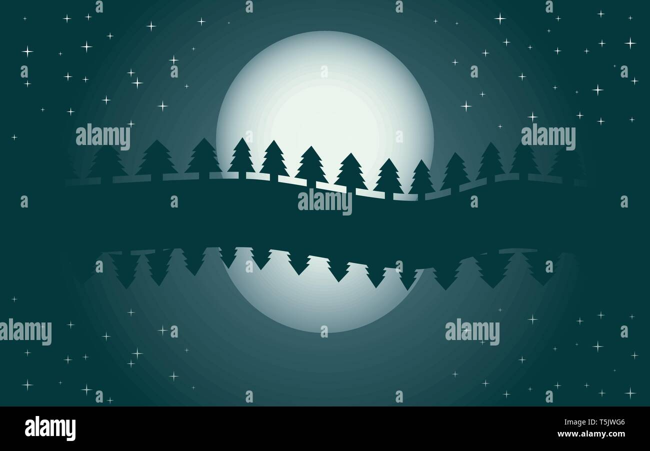 Romantic night landscape, reflection of moon in water, starry night, vector illustration - Stock Vector