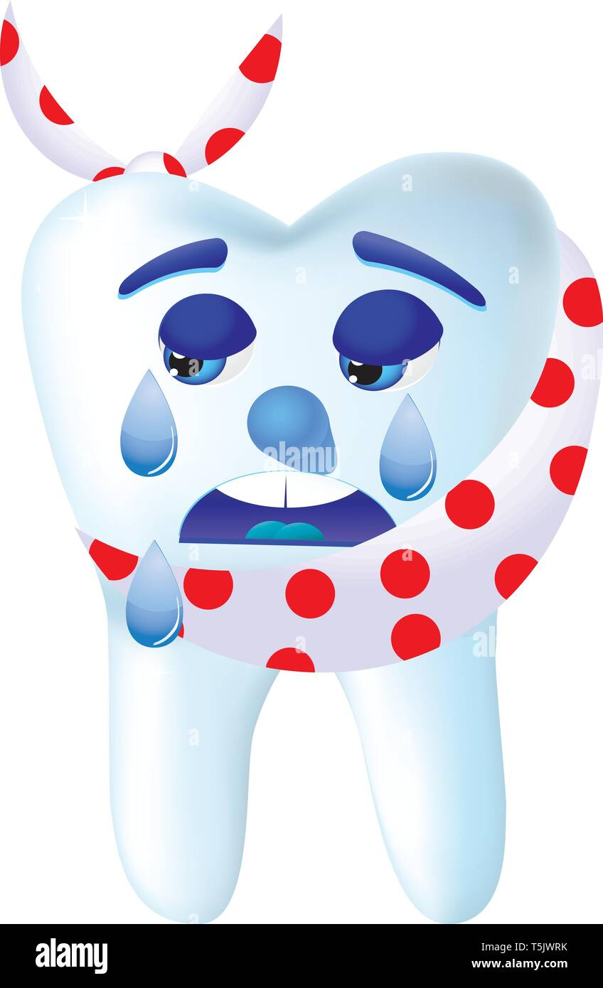 Tooth-cartoon cry, because he hurts, vector illustration - Stock Image