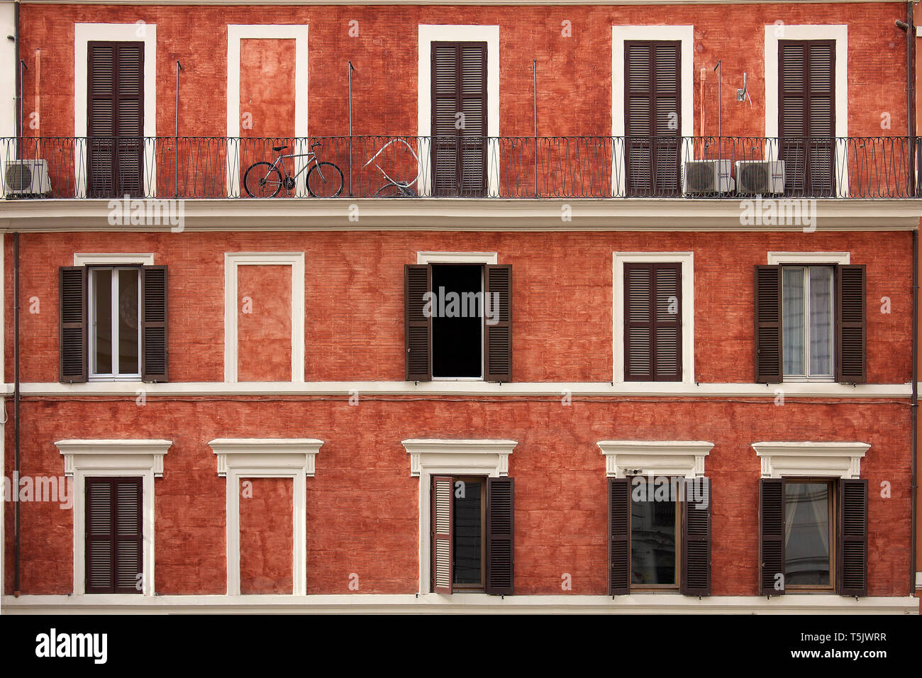 Italian Windows With Shutter Blinds And Small Exterior