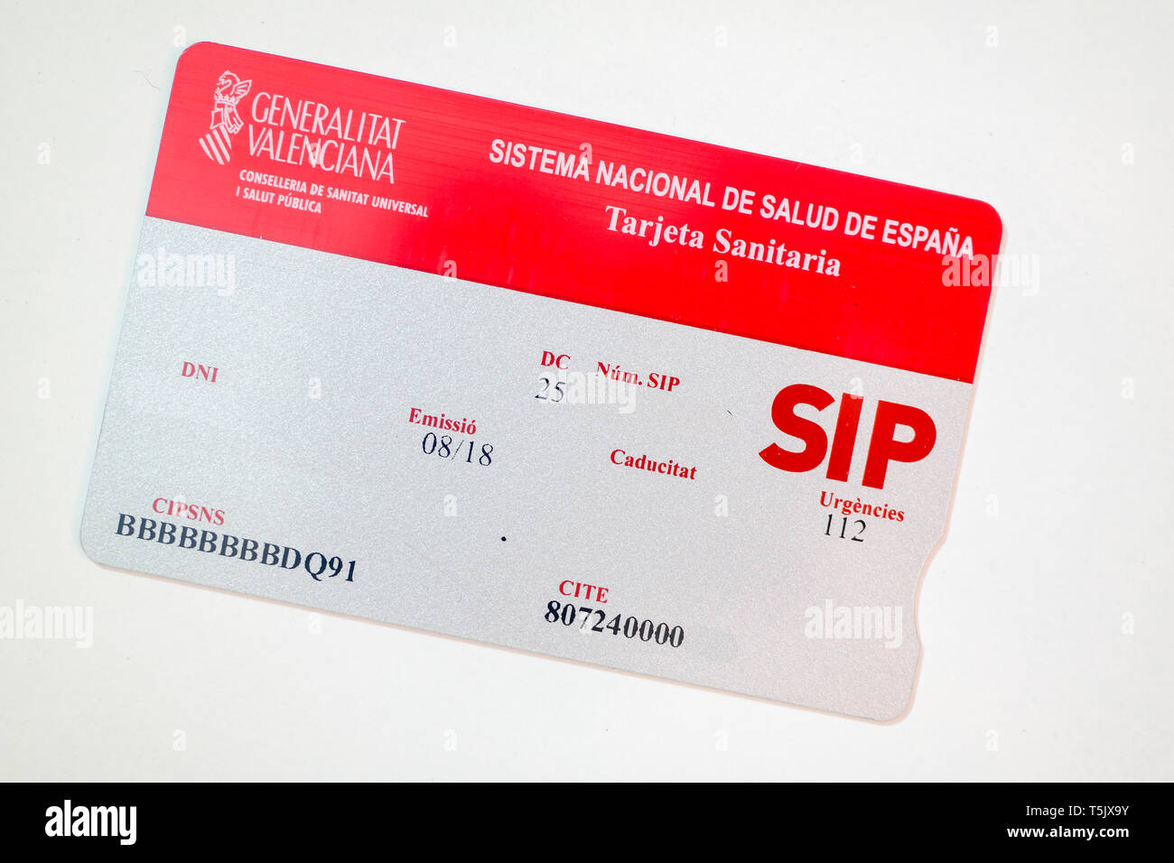 SIP Health Card of Spain - Stock Image
