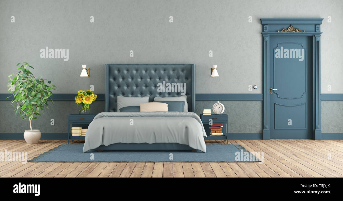 Blue master bedroom in retro style with double bed and ...