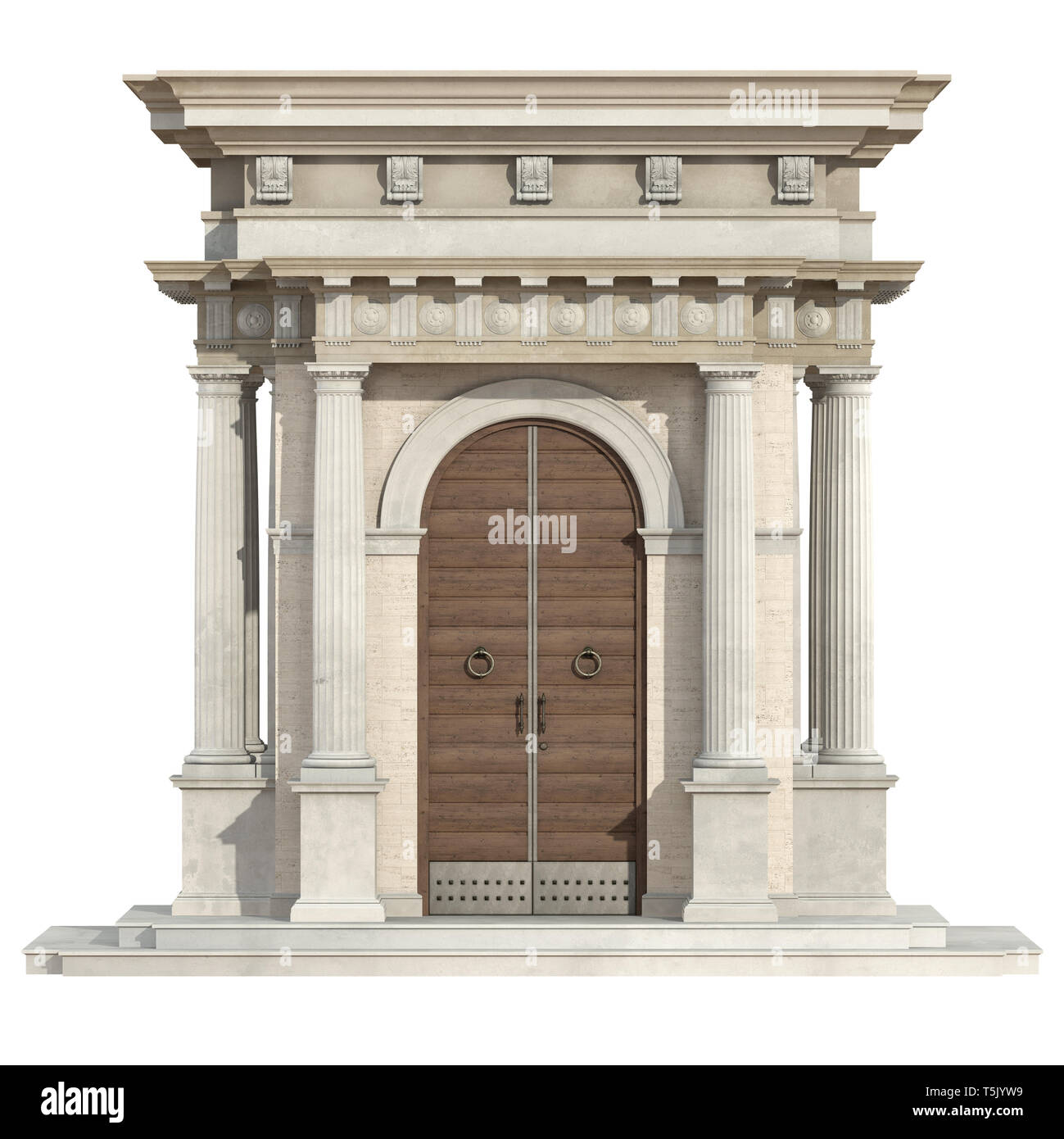 Old portal in neoclassical style with wooden front door and doric column isolated on white - 3d rendering - Stock Image