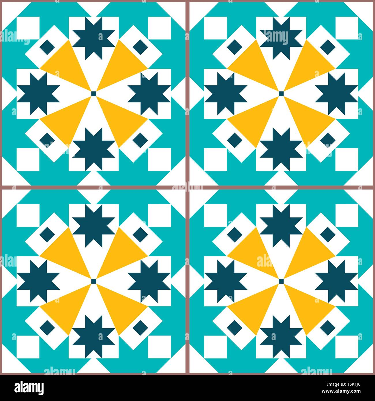 Lisbon geometric vector tiles seamless pattern inspired by Portuguese art, Azulejos style tile background - Stock Vector