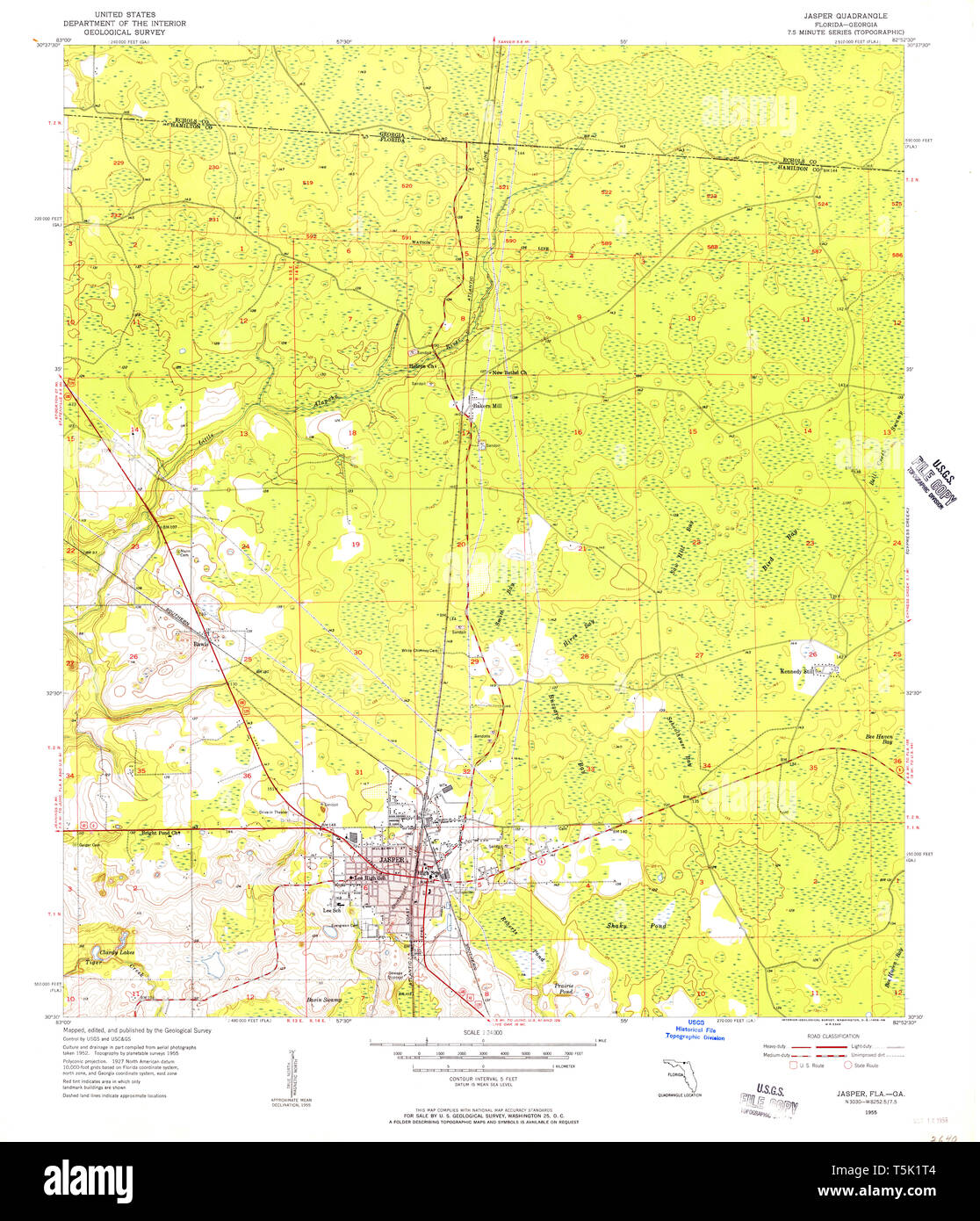 Complete Map Of Florida.Usgs Topo Map Florida Fl Jasper 346843 1955 24000 Restoration Stock