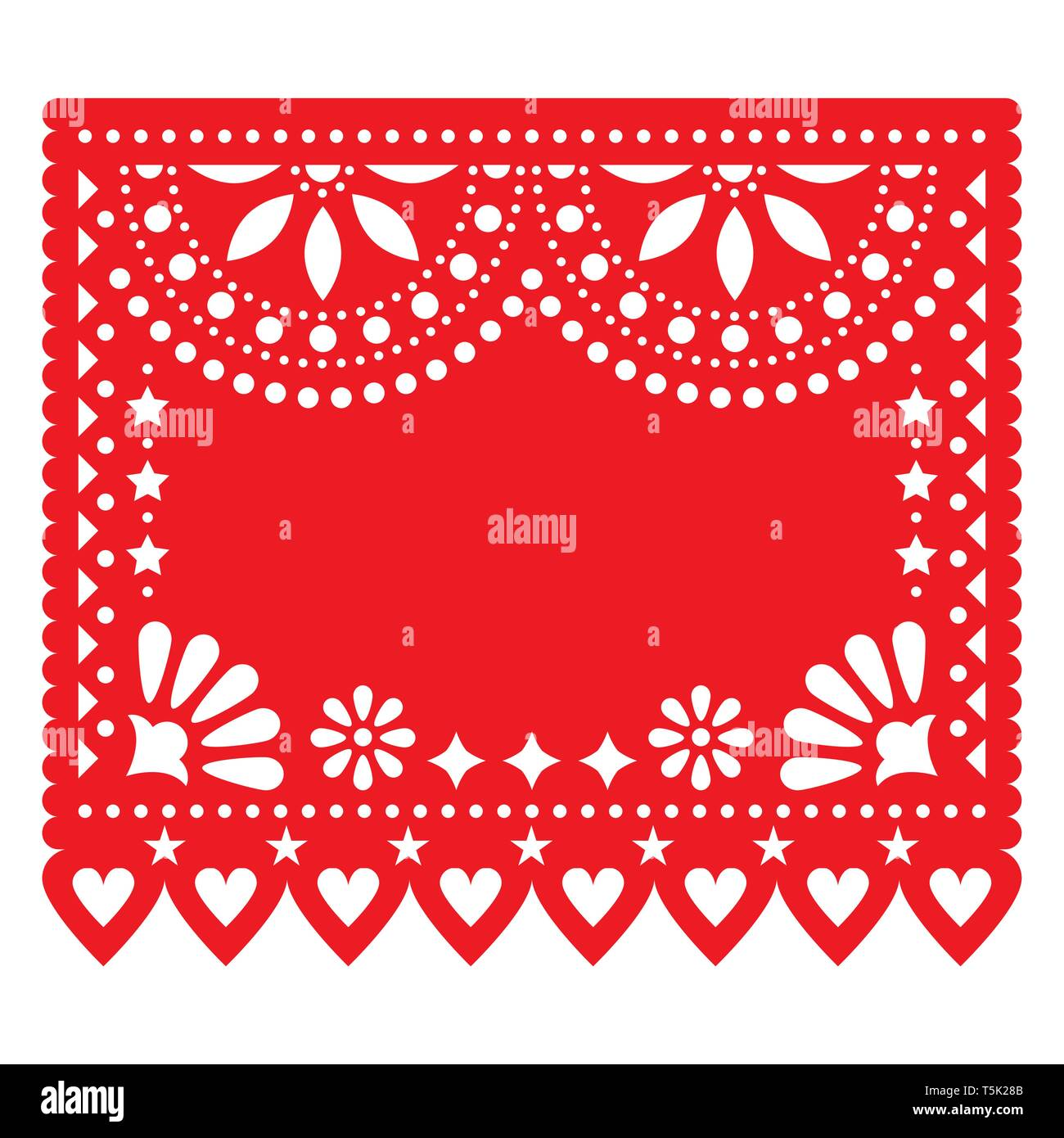 Papel Picado Red Vector Floral Template Design With Abstract