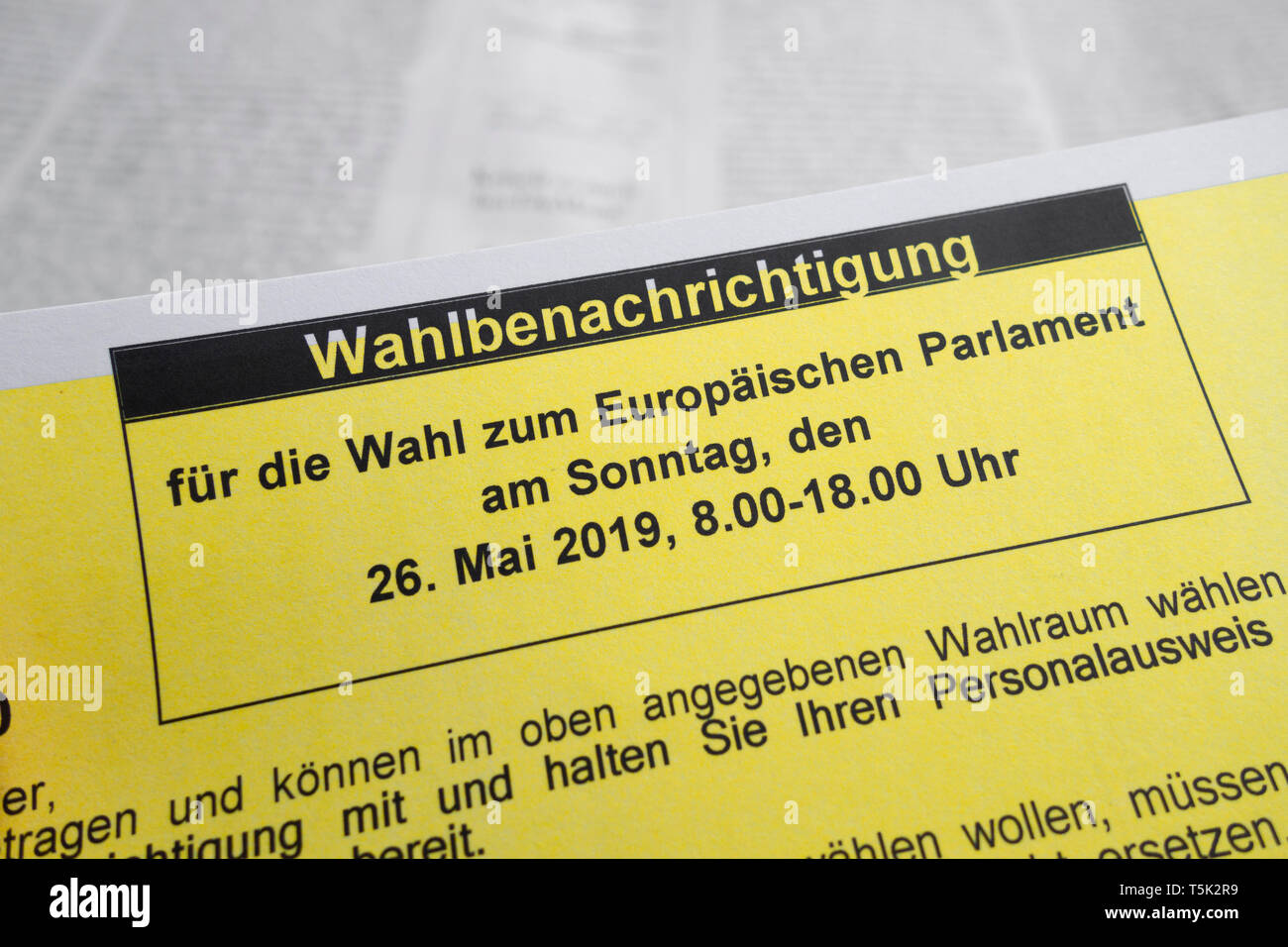 Election notification for the election to the European Parliament on Sunday, 26 May 2019. - Stock Image