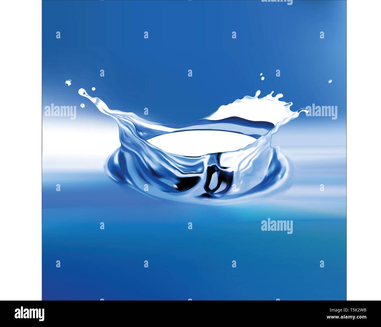 Water splash with reflection,3d illustration - Stock Vector