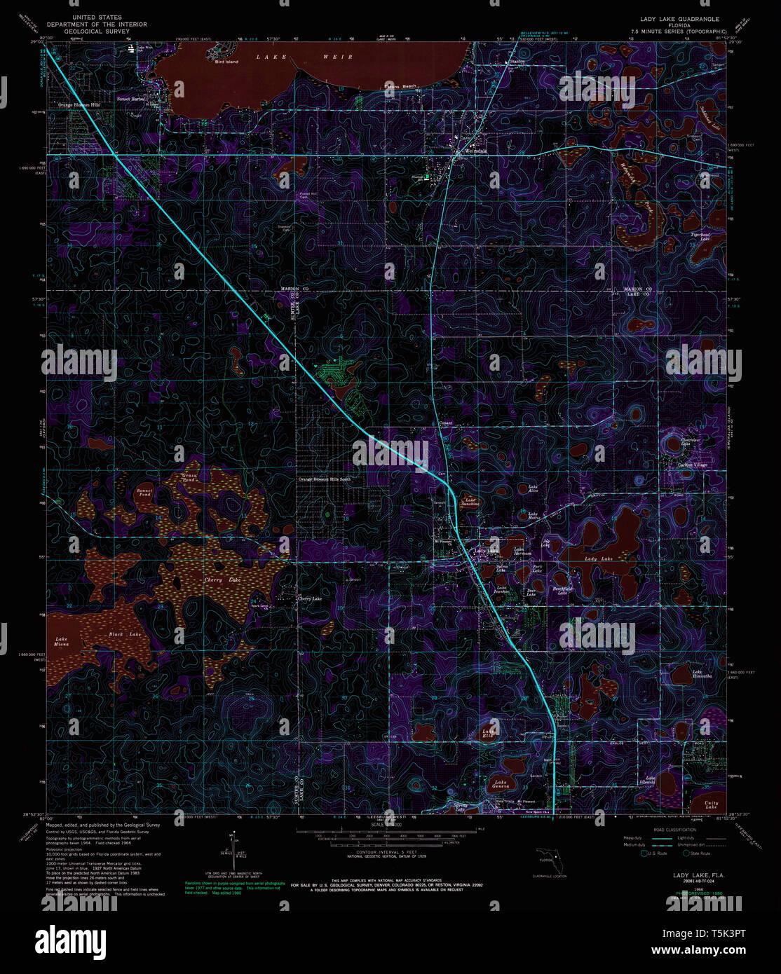 USGS TOPO Map Florida FL Lady Lake 346964 1966 24000 ...
