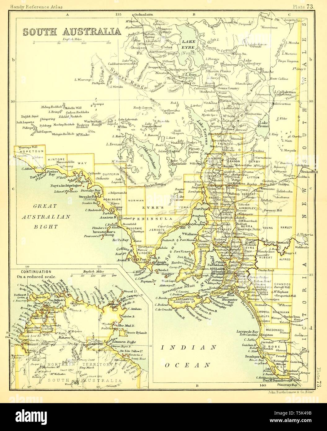 Beautiful vintage hand drawn map illustrations of South Australia from old book. Can be used as poster or decorative element for interior design. - Stock Image