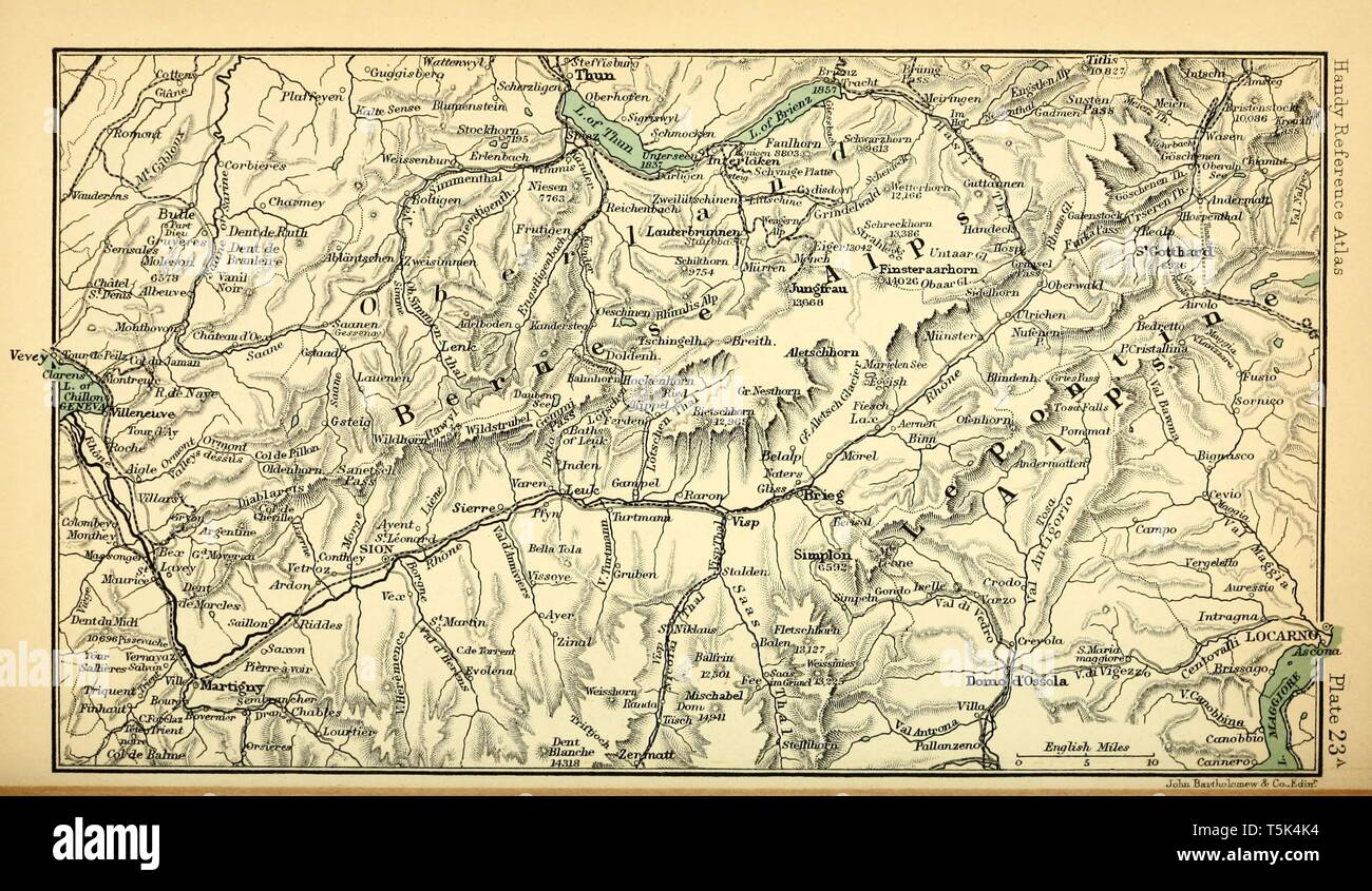 Vintage Map The Alps Stock Photos & Vintage Map The Alps ...