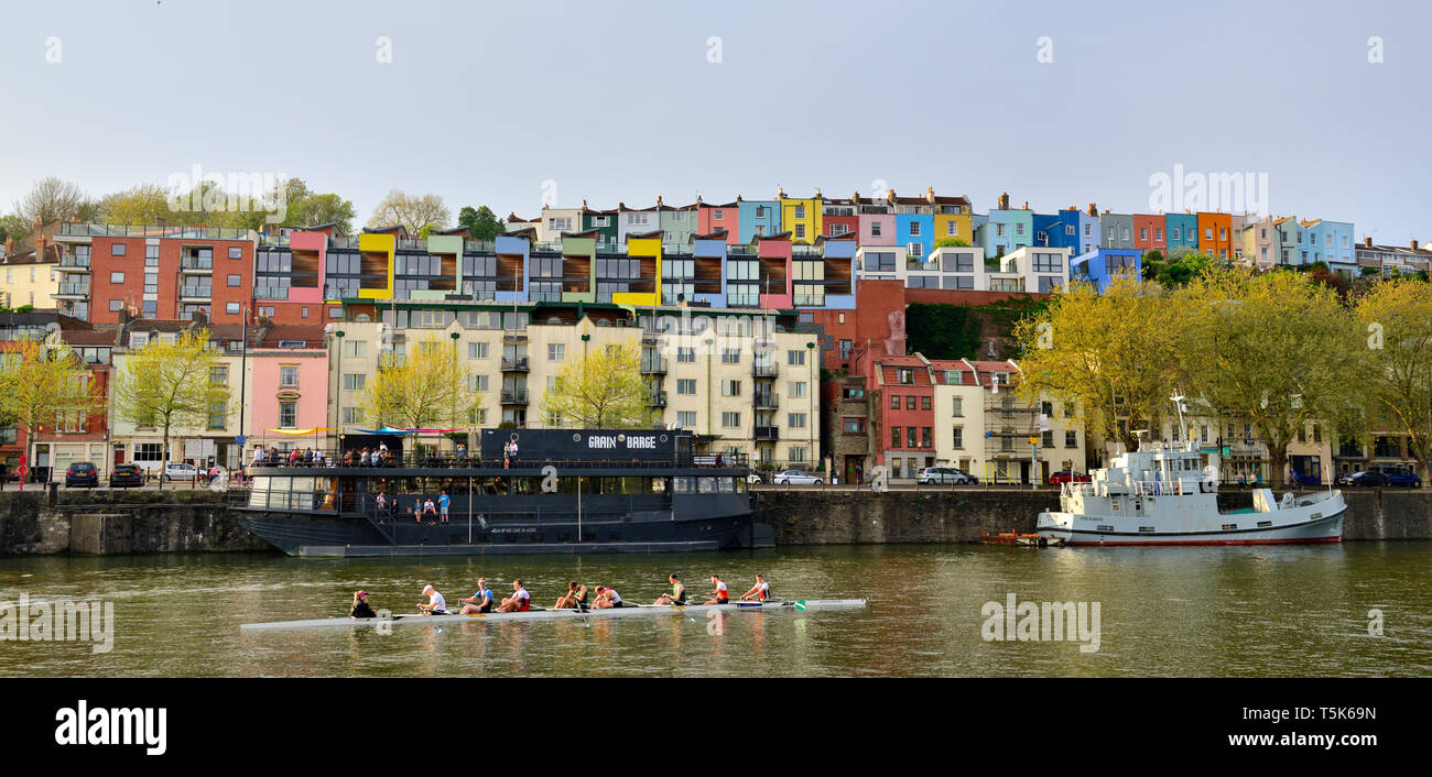 Colourful houses in Clifton Wood, Bristol, on hill overlooking floating harbour - Stock Image