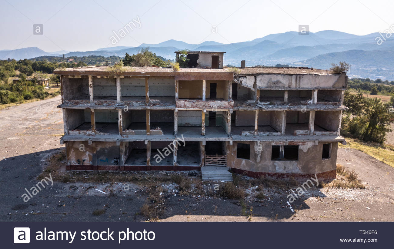 Aerial photography of abounded building. - Stock Image