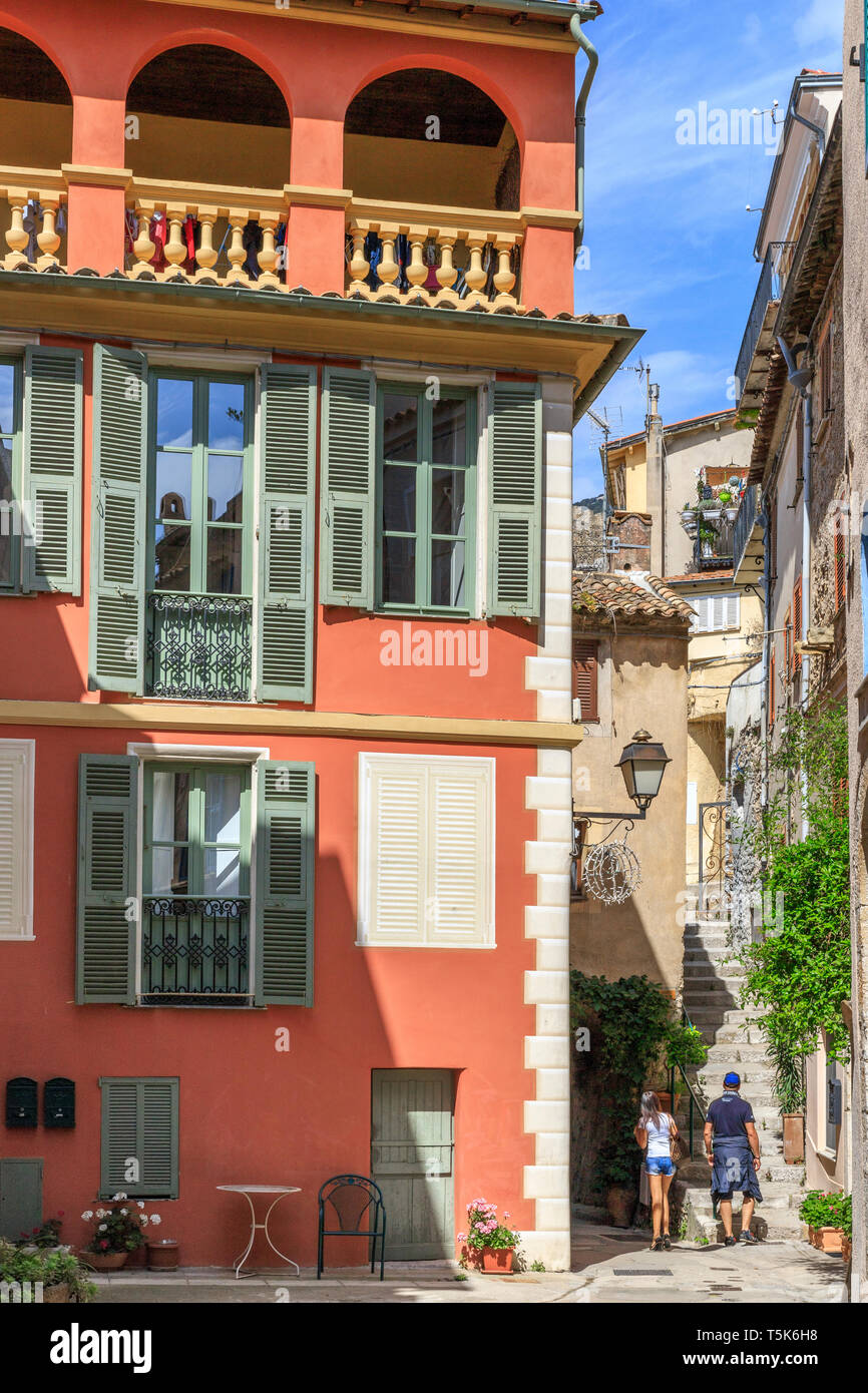 France, Alpes Maritimes, Roquebrune Cap Martin, coloured house, street and staircase in the old village // France, Alpes-Maritimes (06), Roquebrune-Ca Stock Photo