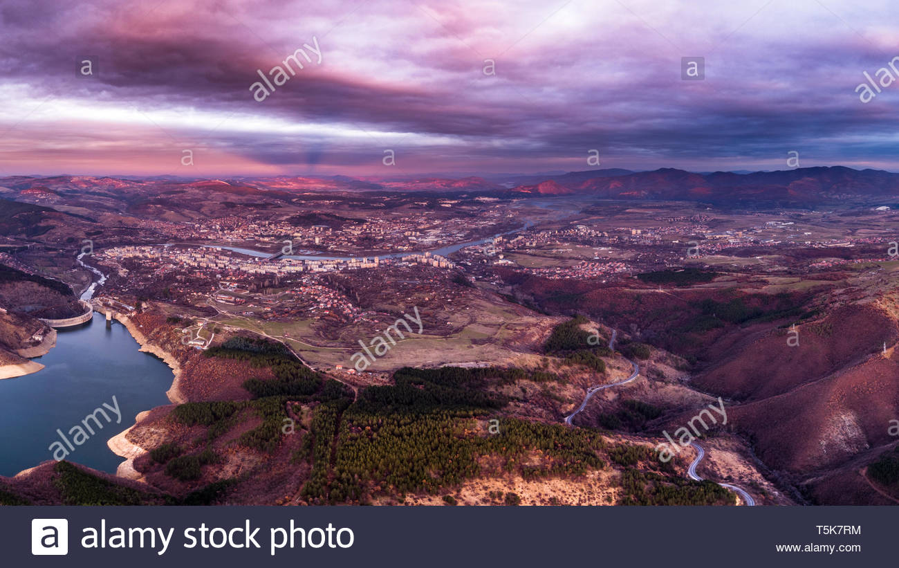 Aerial photography shot near the town of Kardjali. - Stock Image