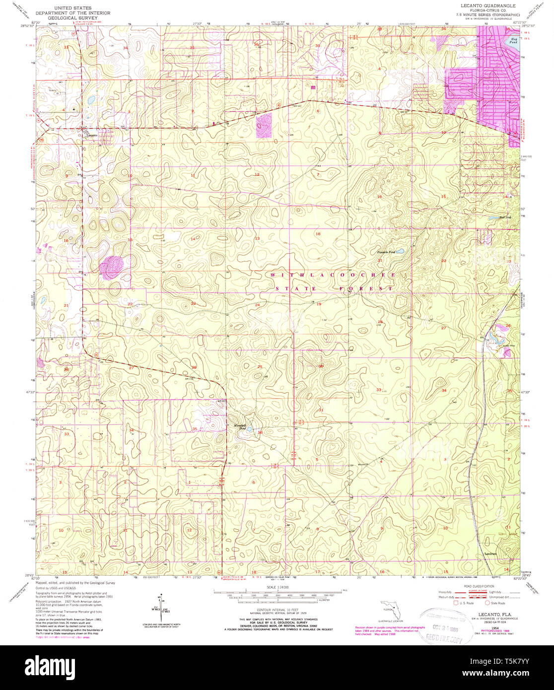 USGS TOPO Map Florida FL Lecanto 347200 1954 24000 ...
