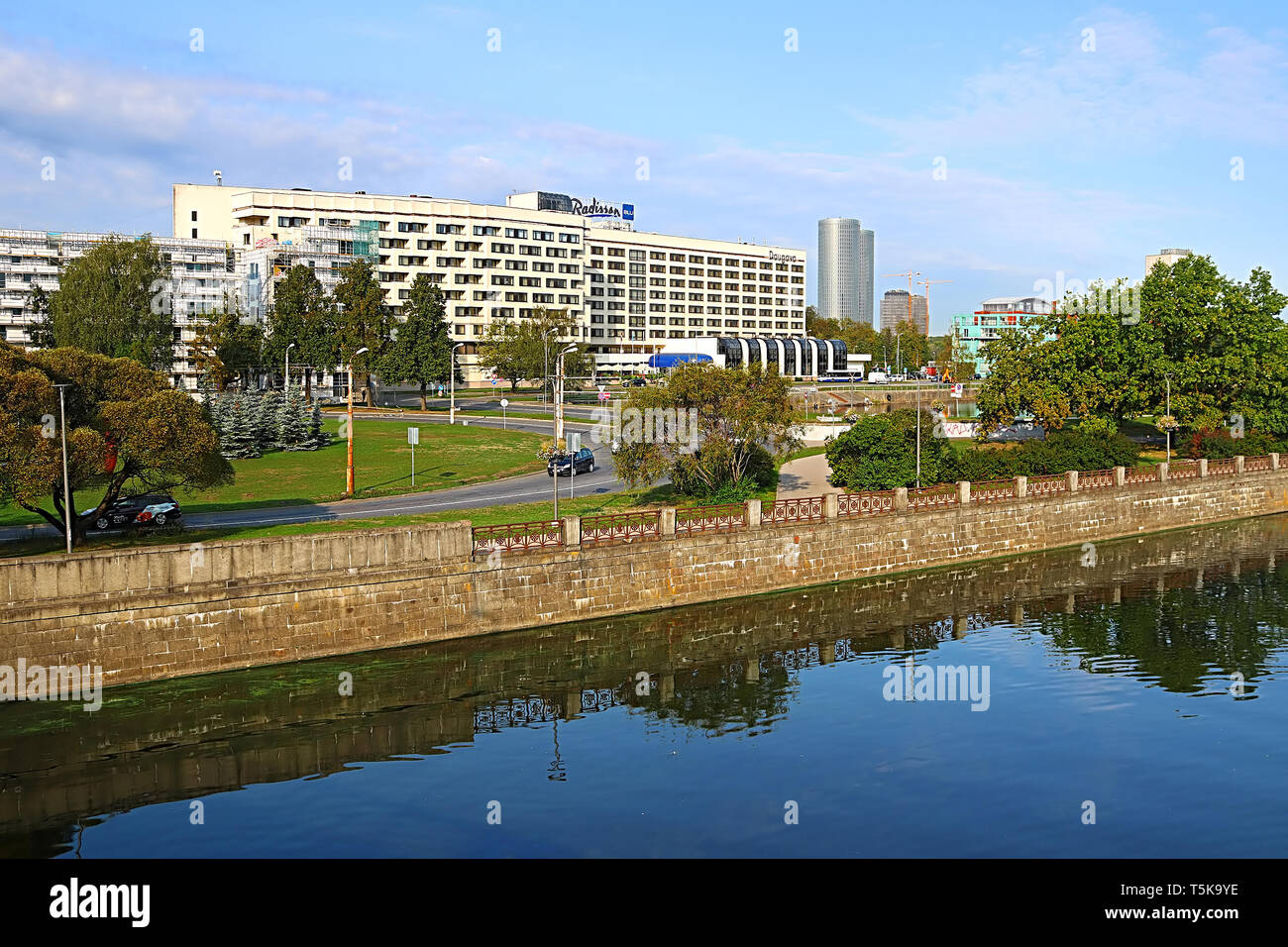 RIGA, LATVIA - AUGUST 29, 2018: Radisson Blu Daugava Hotel on Kugu street 24 - Stock Image