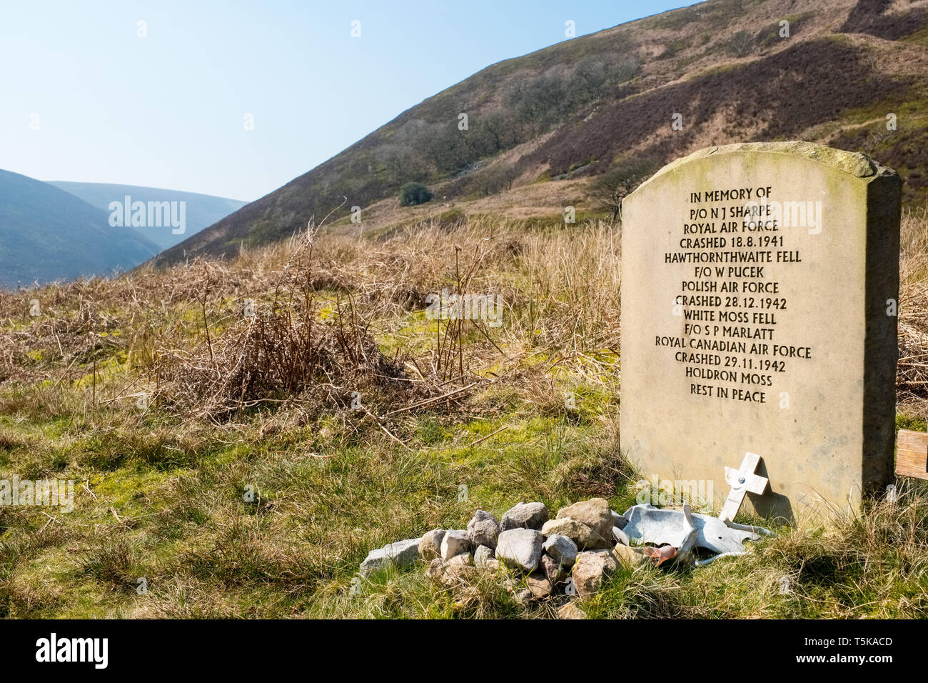 memorial to aircraft crew killed in crashes in WW2, Forest of Bowland,Lancashire,UK - Stock Image