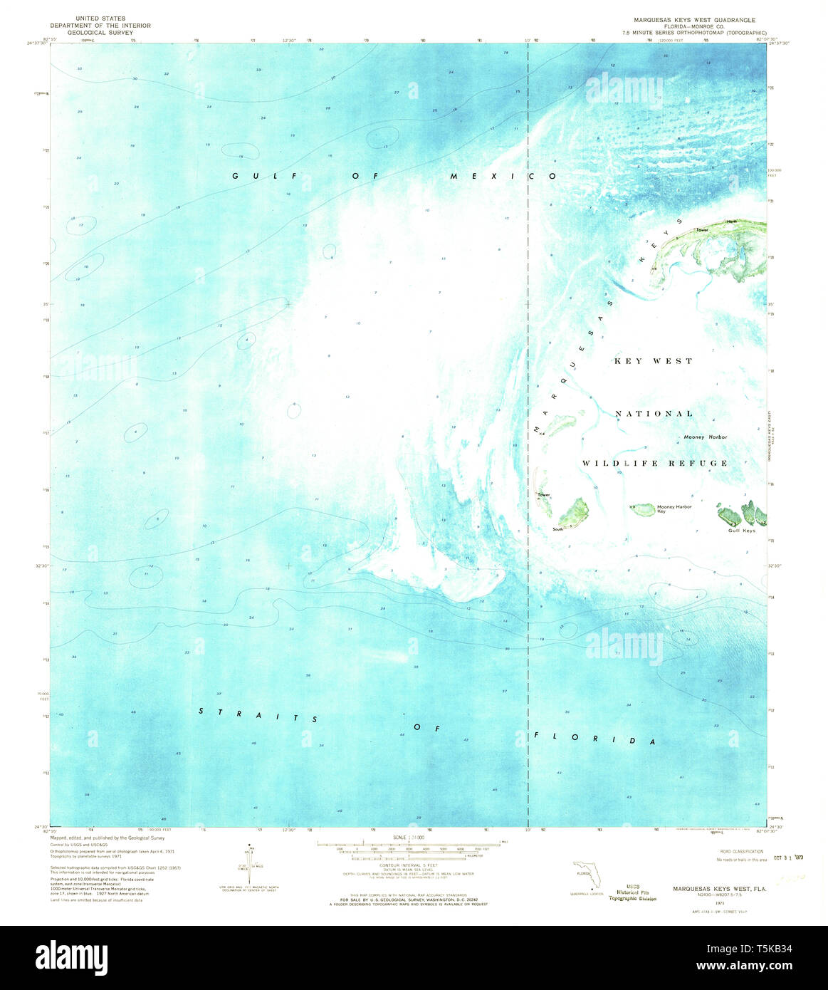 Map Of Florida Key West.Usgs Topo Map Florida Fl Marquesas Keys West 347360 1971 24000