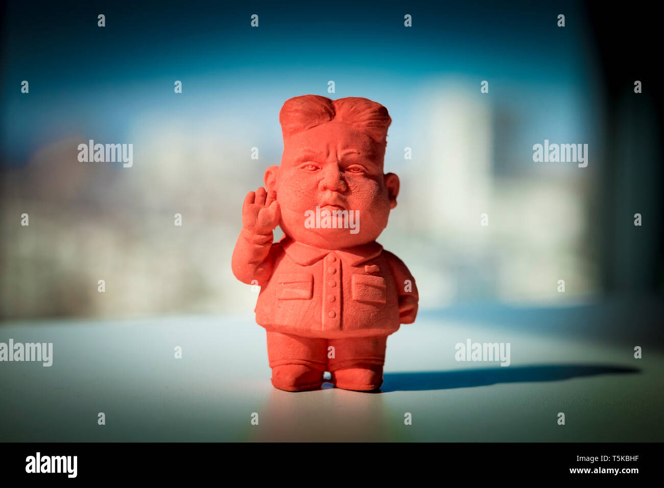A red eraser of Kim Jong-un figure - Stock Image