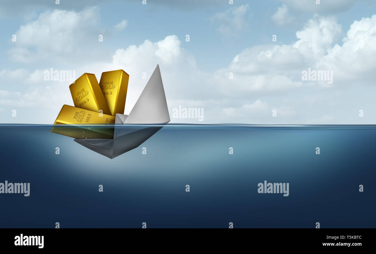 Risk of wealth and financial management or managing investments as a paper boat sinking due to poor finance organization strategy. - Stock Image