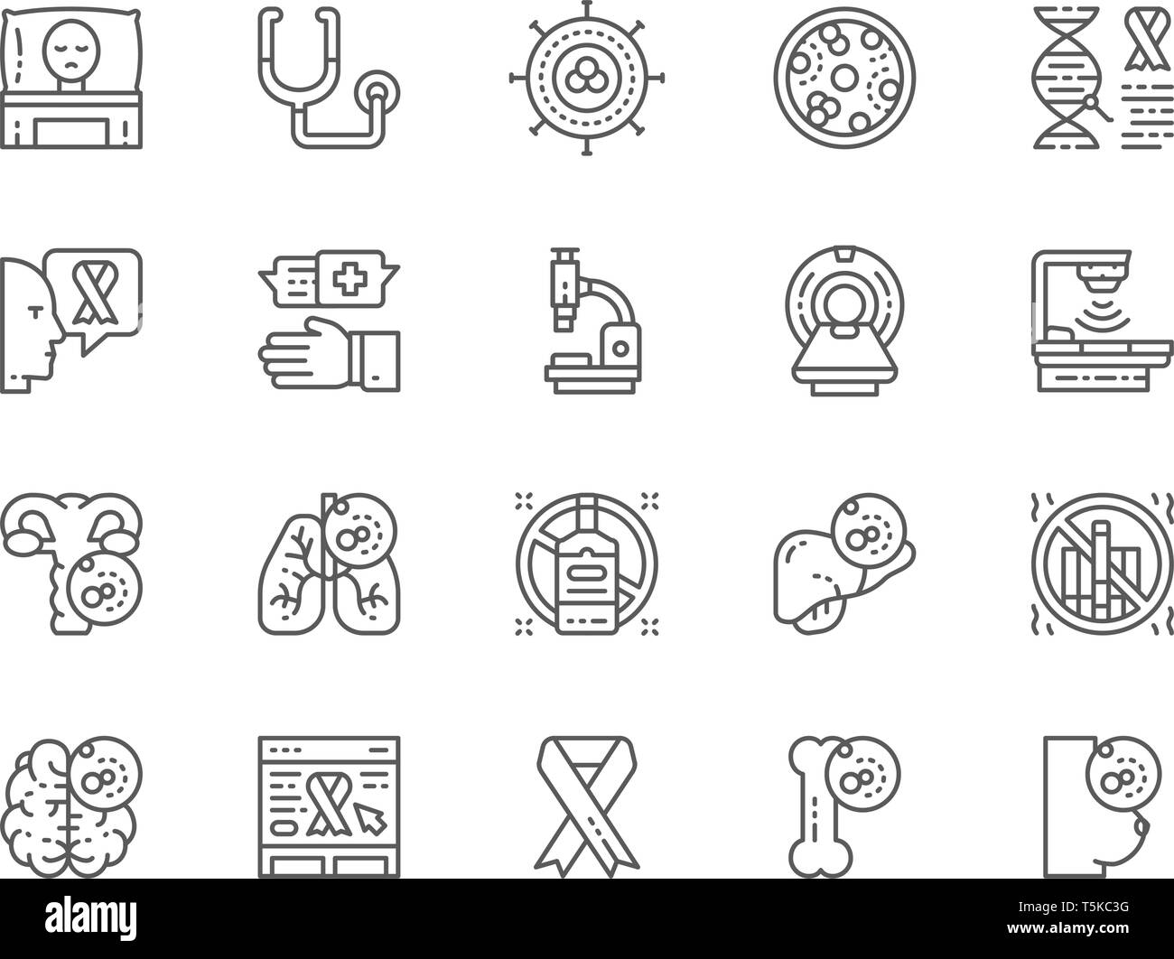 Set of Cancer and Chemotherapy Line Icons. Oncology, Sarcoma, Leukemia and more. - Stock Image