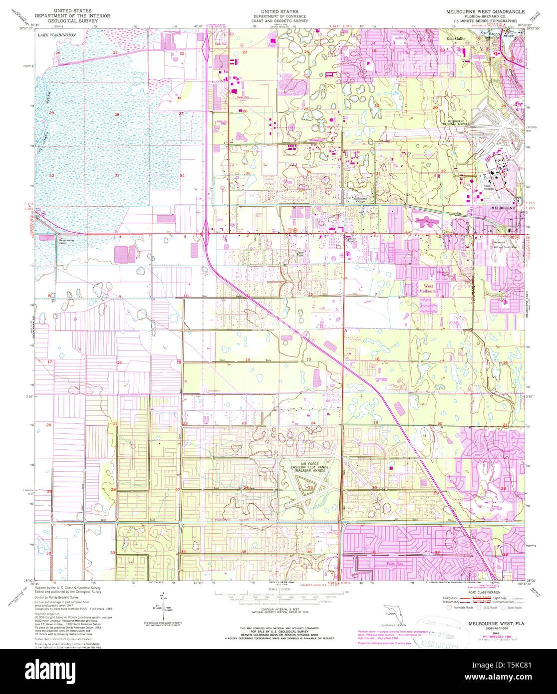 Map Of Florida Melbourne.Usgs Topo Map Florida Fl Melbourne West 347442 1949 24000