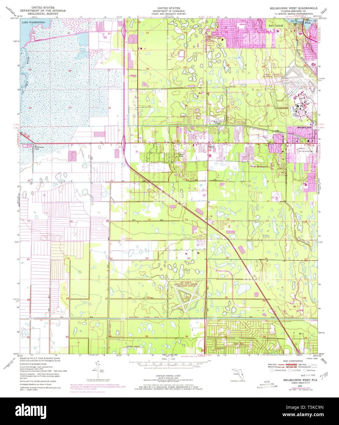 Map Of Florida Melbourne.Usgs Topo Map Florida Fl Melbourne West 347447 1949 24000