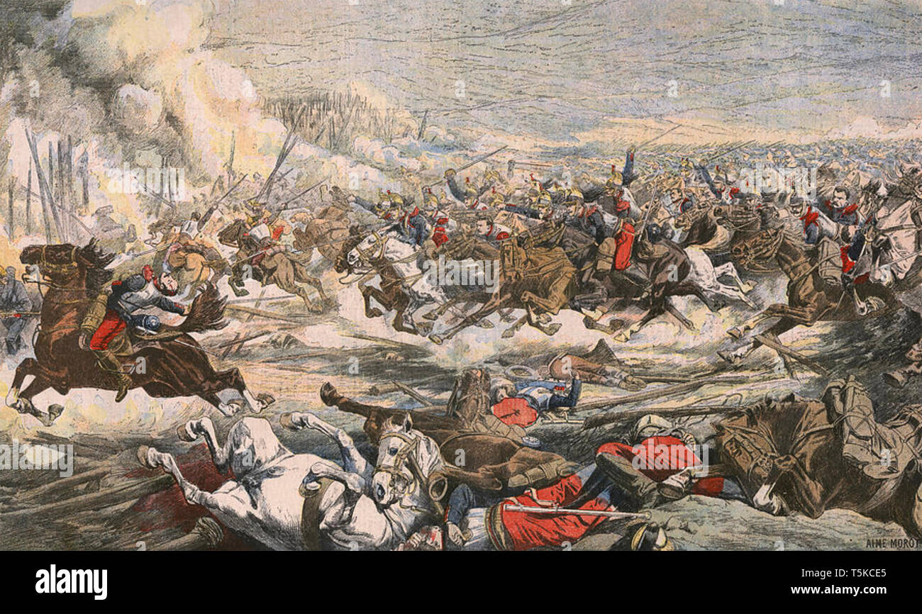BATTLE OF WÖRTH 6 August 1870 in the Franco-Prussian War. French cavalry attacking. - Stock Image