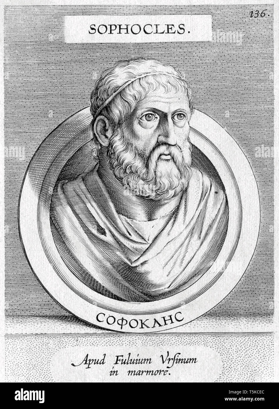 SOPHOCLES (c 497/6 -406/5 BC) Greek tragedian. !8th centurty engraving based on bust in the Pushkin museum - Stock Image