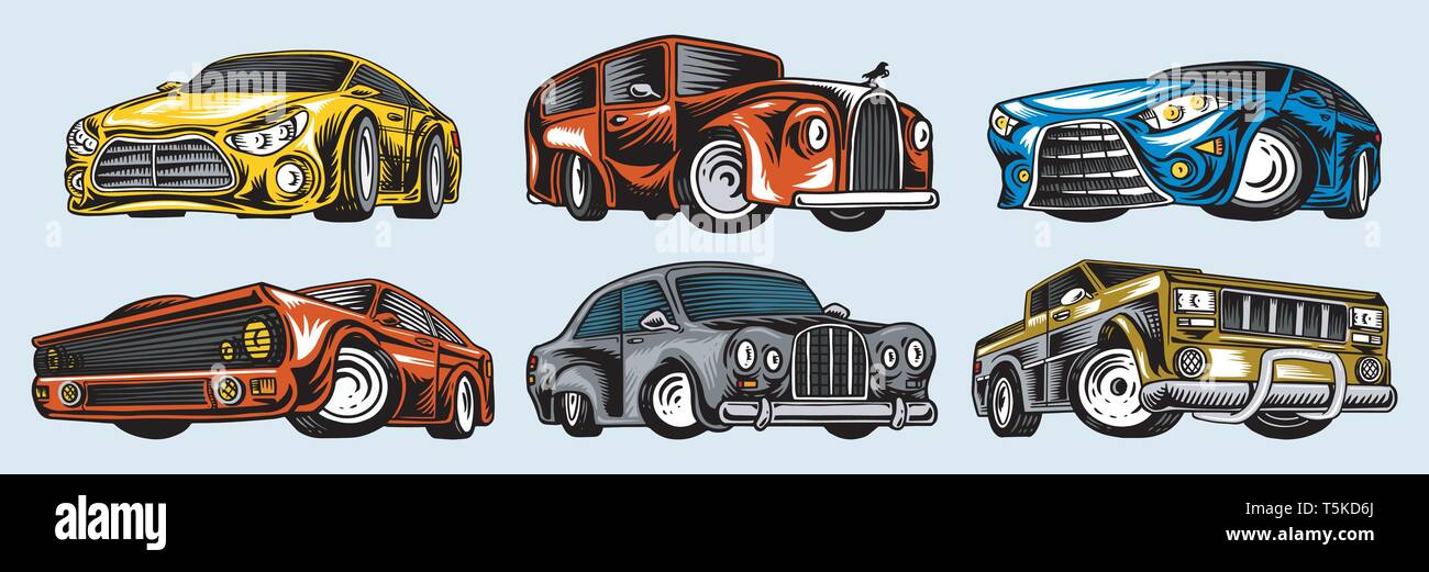 Muscle Cars And Vintage Transports For Logo And Labels Set Of Retro
