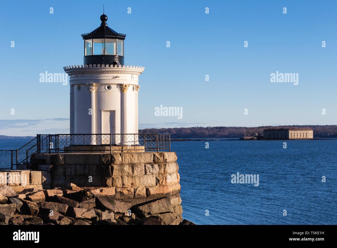 Portland Breakwater Lighthouse (Bug Light), South Portland, Maine - Stock Image