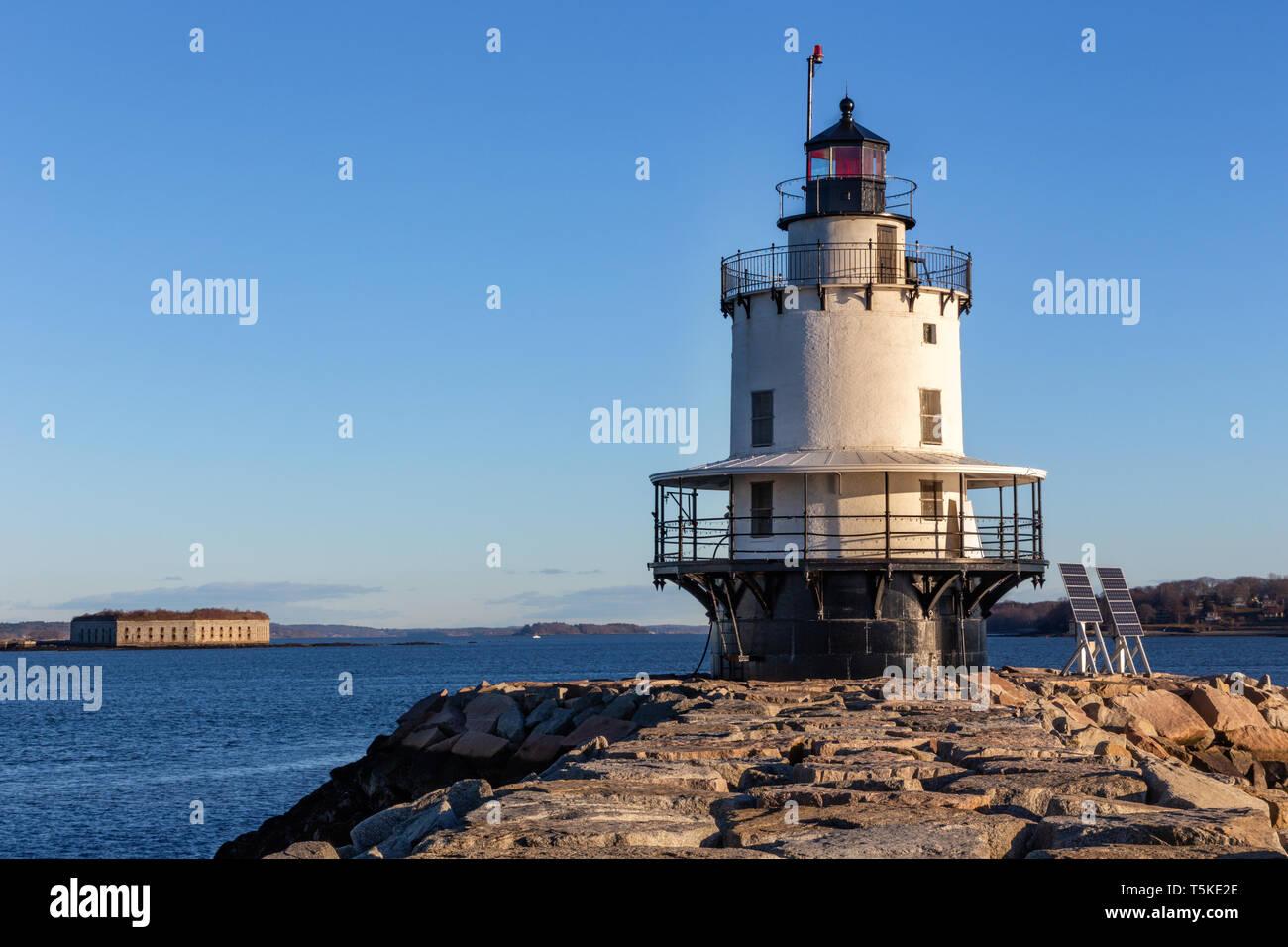 Spring Point Ledge Lighthouse, South Portland, Maine - Stock Image