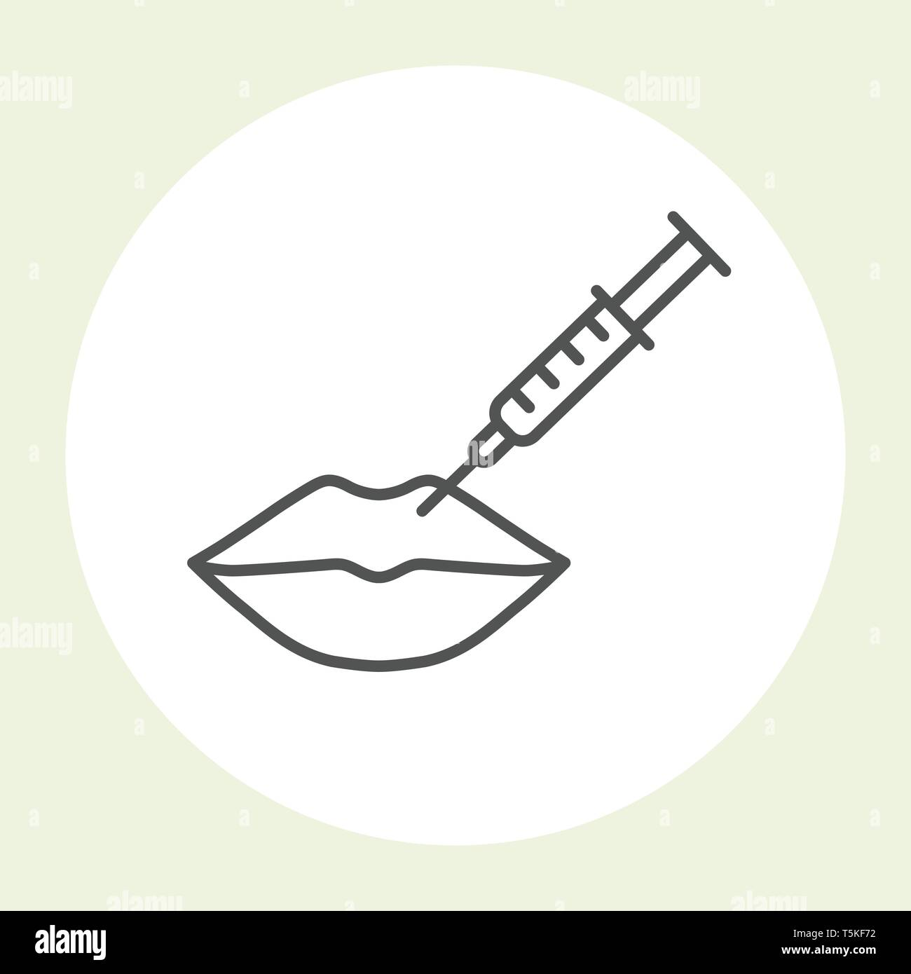 Lips botox injection icon - hyaluronic acid lips injection - Stock Vector