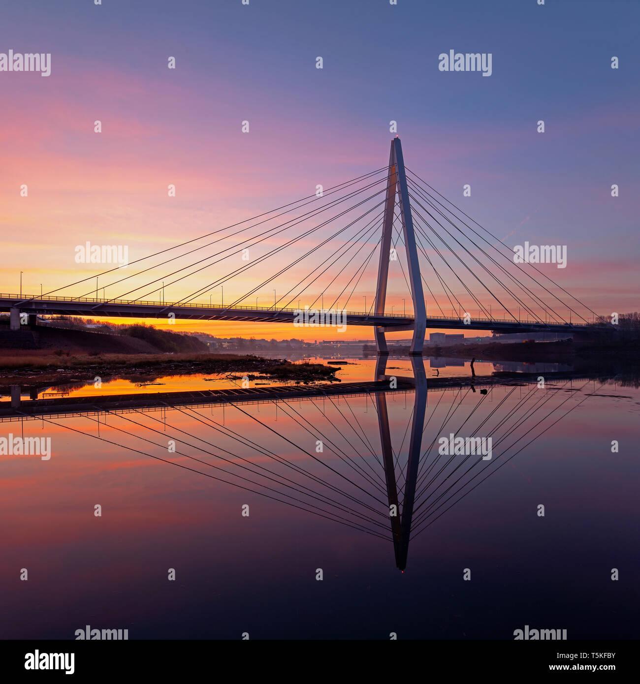 Northern Spire bridge at sunrise, Sunderland, Tyne & Wear, England, United Kingdom - Stock Image