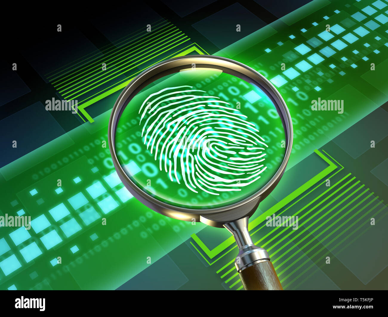 Magnify lens scanning some code and revealing a fingerprint. 3D illustration. - Stock Image