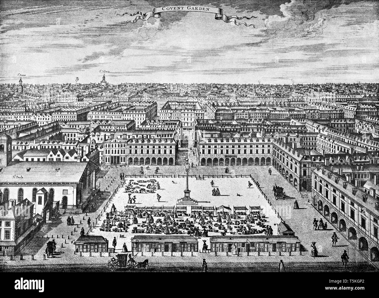 General view of Covent Garden looking north, circa 1720, from an engraving by Sutton Nicholls - Stock Image