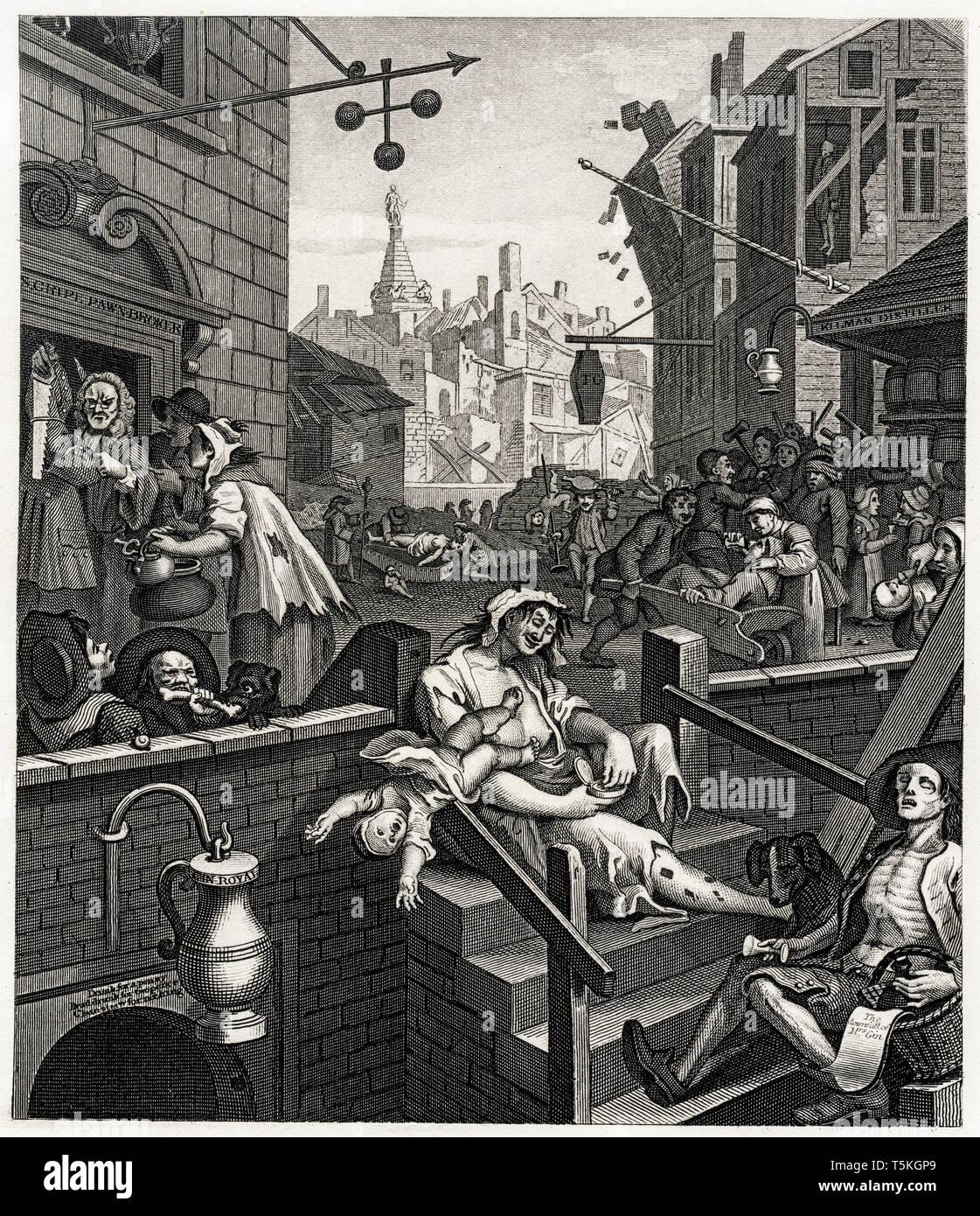 William Hogarth, Gin Lane, engraving, c. 1750 Stock Photo