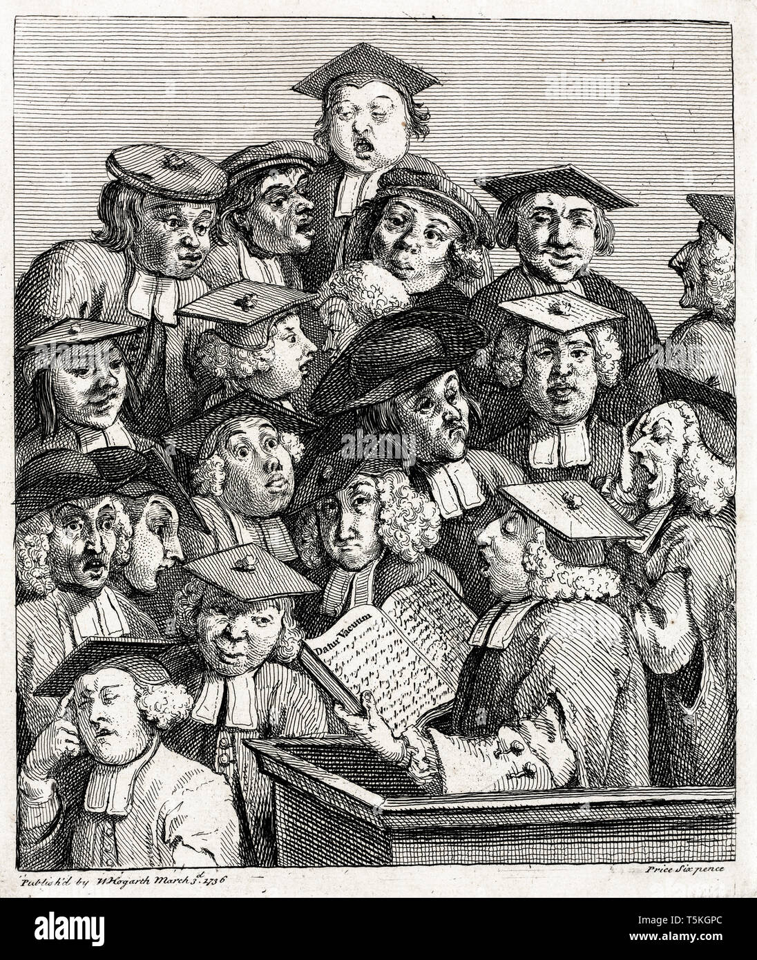 William Hogarth, Scholars at a Lecture, engraving, c. 1736 - Stock Image