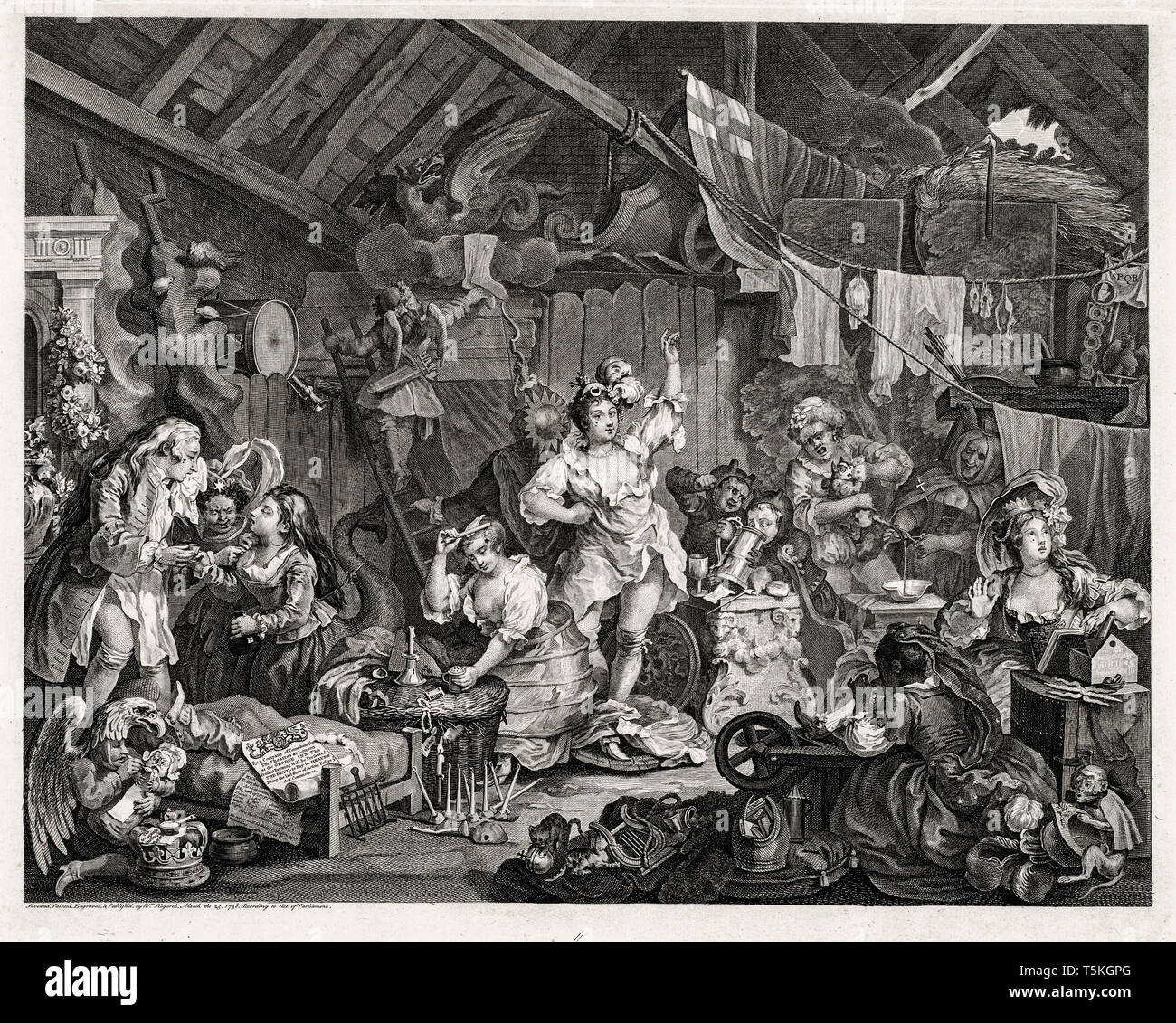 William Hogarth, Strolling Actresses Dressing in a Barn, engraving, 1738 Stock Photo