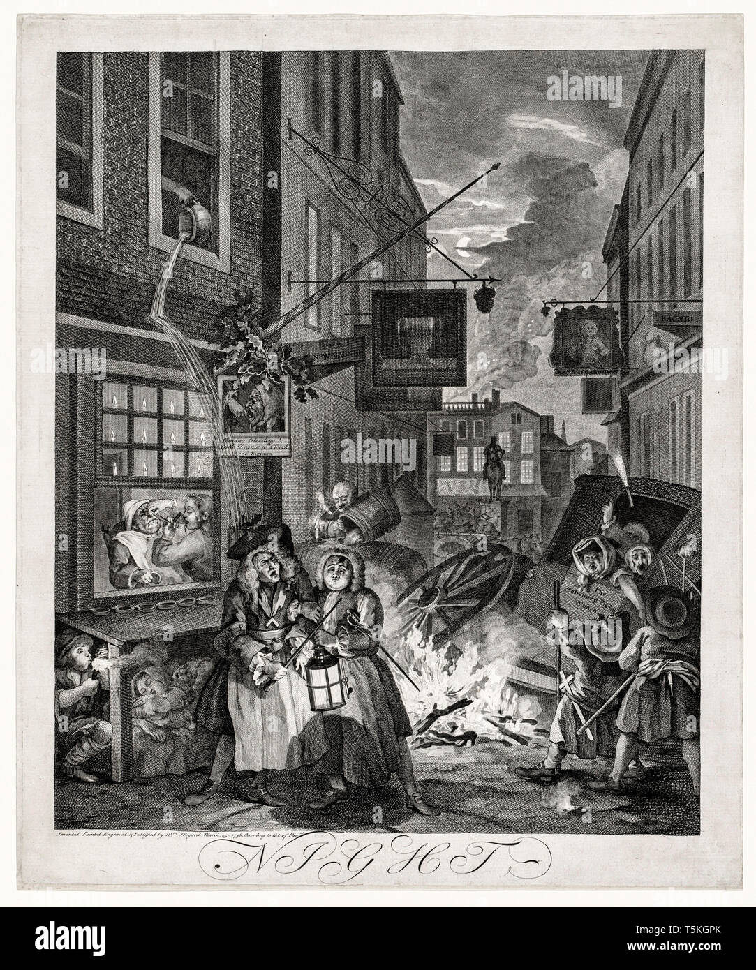 William Hogarth, The Four Times of Day: Night, engraving, 1738 Stock Photo