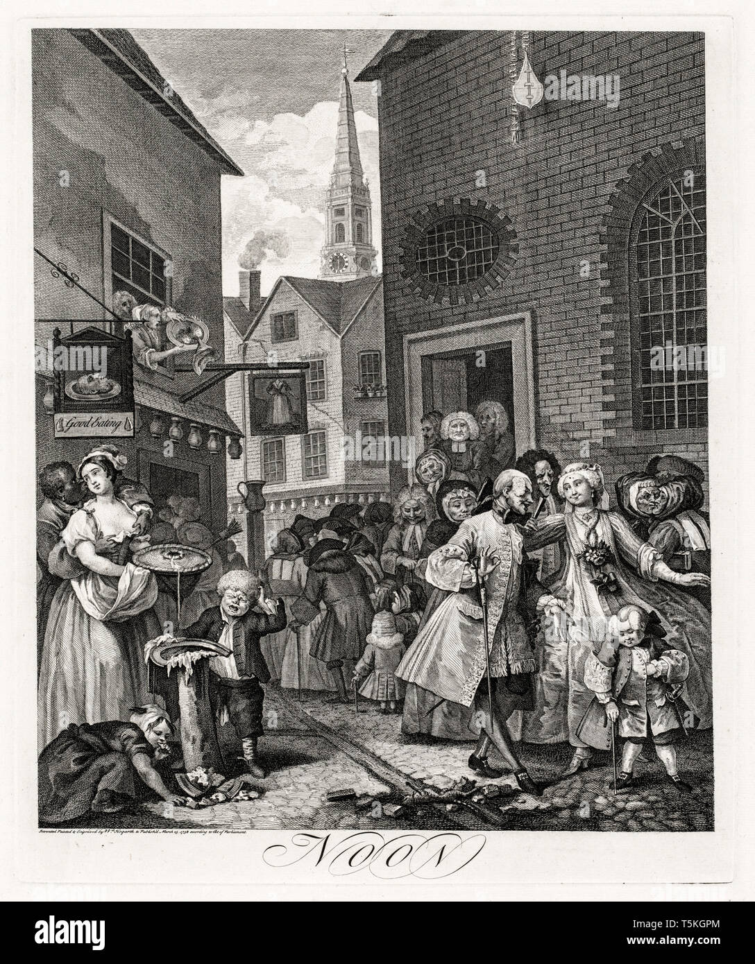 William Hogarth, The Four Times of Day: Noon, engraving, 1738 Stock Photo